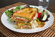 Caprese Grilled Cheese Sandwich. Tomato, Mozzarella & pesto... yum! <3