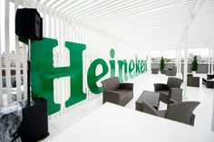 Heineken bar on the roof at MAMM Opening of exhibition Design 007: 50 years Anniversary of James Bond
