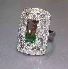 gem_passionWatermelon Tourmaline 1.79ct set in platinum with 0.70ct diamonds.
