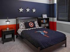 At Kimberley we can create custom spaces for every member of the family! - Throughout the design process our staff and. Boys Superhero Bedroom, Superhero Room Decor, Boy Sports Bedroom, Marvel Bedroom, Avengers Bedroom, Avengers Nursery, Marvel Nursery, Big Boy Bedrooms, Teenage Room Decor
