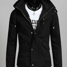 Attractive Black Hooded Coat Men Leather With Pockets Front Button Closure Fashionable sold by scorpianshoes. Shop more products from scorpianshoes on Storenvy, the home of independent small businesses all over the world. Trendy Mens Fashion, Men Fashion, Real Leather, Leather Men, Leather Jacket With Hood, Jacket Style, Cowhide Leather, Front Button, Hoods