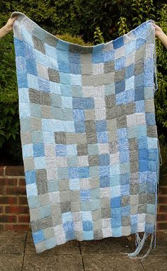 Sky blanket - knit/crochet a square everyday with the color of the sky (would be awesome to do for a baby's blanket while you were pregnant)