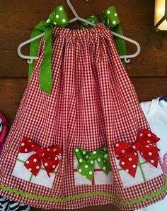 Christmas Pillow Case Dress, Paired with a white shirt and tights to ward off the southern cool.