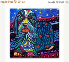 55% Off Today- Bearded Collie art Tile Ceramic Coaster Mexican Folk Art Print of painting by Heather Galler dog (HG168)