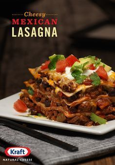 With ground beef, black beans, tomato, avocado, & salsa layered between flour tortillas, KRAFT Mexican Style Finely Shredded Taco Cheese fuses two flavors together in this deliciously simple recipe for Cheesy Mexican Lasagna. http://www.kraftrecipes.com/recipes/cheesy-mexican-lasagna-195675.aspx