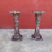 Antique Pair of Marble Pedestal Columns Antique Marble!