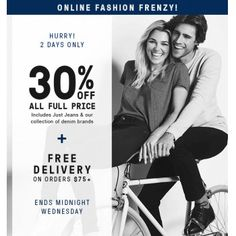 SAVE 30% Off Sale on All Full Price @ Just Jeans - Bargain Bro