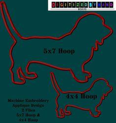 Basset Hound Dog Applique Design  Applique by DigitizedByHand