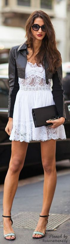 Summer party outfit - white midi dress, black leather jacket, black clutch, black sunglasses.