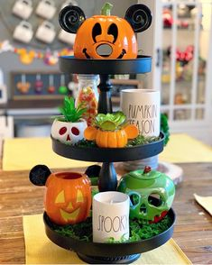 Loving our friend fall themed tier tray! The fall decor is starting to pour in and we're so excited! Be sure to send… Disney Halloween Decorations, Halloween Home Decor, Halloween House, Fall Halloween, Mickey Halloween, Happy Halloween, Fall Decorations, Seasonal Decor, Deco Disney