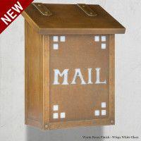 Handmade Pasadena Craftsman Vertical Brass Mailbox