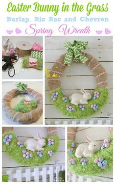 Easter Decorations 793759503054364456 - Easter Bunny in the Grass Burlap Ric Rac and Chevron Spring Wreath at The Happy Housie Source by Easter Projects, Easter Crafts For Kids, Bunny Crafts, Fun Projects, Wreath Crafts, Diy Wreath, Jar Crafts, Door Wreaths, Hoppy Easter