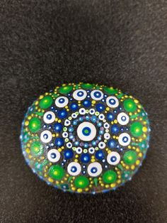 Mandala - blue and green with some neon blues and greens. Dot Painting, Stone Painting, Mandala Rocks, Painted Stones, Top View, Rock Art, Polka Dot, Blues, Neon