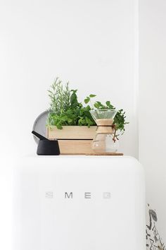 Wooden box from Ikea, Refrigerator SMEG, styling Susanna Vento Scandinavian Kitchen, Scandinavian Design, Kitchen Dining, Kitchen Decor, Kitchen Styling, Smeg Kitchen, Kitchen Herbs, Ideas Hogar, Cozy House