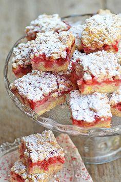 carrés, fraises, croustillants