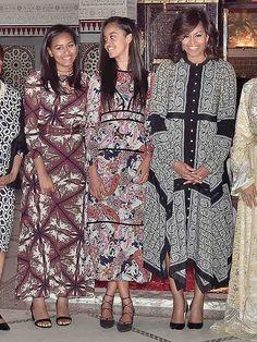 Sasha, Malia and Michelle Obama in printed maxidresses in Morocco