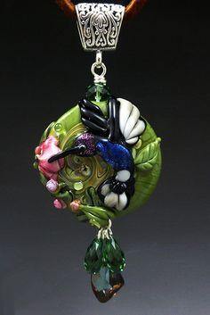 Hummingbird Garden handmade lampwork focal bead by LandSArts, $140.00