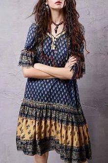 Ethnic Print V Neck Half Sleeve Dress