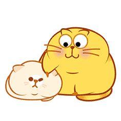 Cute Fat Cats, Cool Cats, Happy Kitty, Cat Emoji, Bird Gif, Emoji Symbols, Gifs, Yellow Cat, Cute Cat Gif