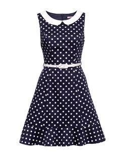 Connect the Dots Dress | Navy & Cream | Polka Dot Dress
