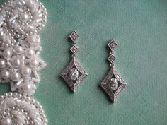 MARLENE Art Deco Silver Retro Diamond Shaped by DeborahLINKDesigns  $56.00