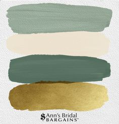 The Perfect Wedding Color Palette: White Sage, Ivory, Artichoke and Gold. : The Perfect Wedding Color Palette: White Sage, Ivory, Artichoke and Gold. Gold Color Palettes, Gold Color Scheme, Green Colour Palette, Colour Schemes, Gold Palette, Spring Color Palette, Gold Colour, Mint Color, Palette Verte