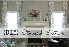 DIY Stenciled Curtains - an easy, and inexpensive solution when you need tall curtain panels! #diy #IKEA