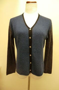 NEW MARGARET O'LEARY BLUE AND GRAY 100% CASHMERE CARDIGAN MEDIUM #MargaretOLeary #Cardigan