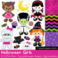 Halloween Girls - Halloween clipart - Clip art and Digital paper set by pixelpaperprints on Etsy https://www.etsy.com/uk/listing/111764166/halloween-girls-halloween-clipart-clip
