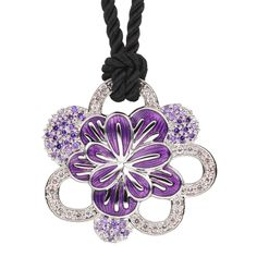 CIRO Jewelry Traviata amethyst white gold Necklace. White & purple CIROLIT stones. Lilac enamel. 80cm cord necklace with a Carabiner clasp. White gold plated