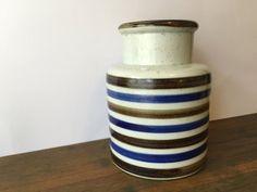 Large Vintage Striped Vase Blue Brown & white by VintageParamour