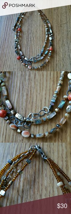 Silpada necklace Gorgeous orange and earth tones Silpada beaded necklace.  EUC. Silpada Jewelry Necklaces