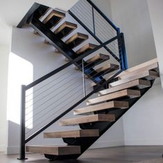 Floating staircase features a steel I-Beam mono stringer with open risers and flush mounted oversized white maple wood treads - LOCAL PICKUP OR DELIV… Urban Decor, Floating Staircase, I Beam, Building Design, Stairs, Industrial, Steel, Wood, Projects