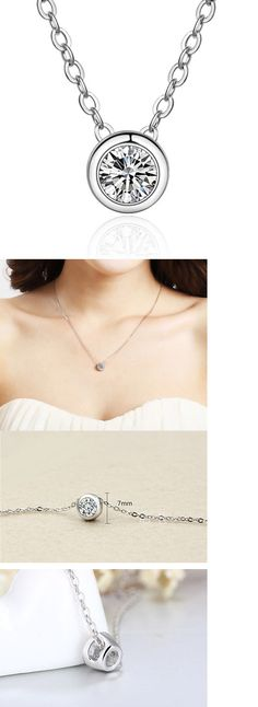 Valentines Jewelry: 925 Sterling Silver Diamond Pendant Chain Necklace Women Valentine S Day Gift -> BUY IT NOW ONLY: $2.99 on eBay!
