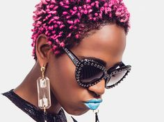 this is hard femme Travel Hairstyles, Dope Hairstyles, Unnatural Hair Color, Teeny Weeny Afro, Tapered Hair, Hair Specialist, Coloured Girls, Colored Hair, Blue Lips