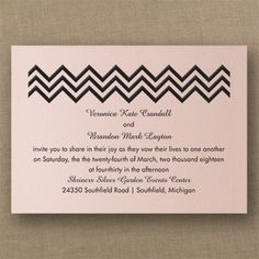Crazy in Love - Classic Invitation - Pastel Coral Shimmer....wide array of stock colors available! Discounted 25% quaint Wedding Stationery.