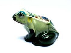 Huge vintage TONALA ceramic Mexican frog, Signed NOE SURO,  Hand painted animal figurine or statue
