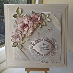 Hi everyone,Todays card is this weekends workshop card, maybe my last workshop card for the time being. Ingredients are… Spellbinders grand squares, Spellbinders vintage florets and matching …