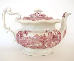 Antique Pink Red Transferware Staffordshire Teapot