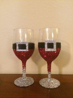 Glitter Santa Decoration Wine Glasses