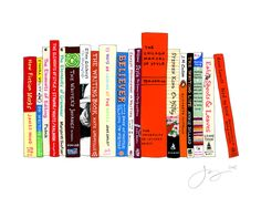 "Ideal Bookshelf--How cool is this? Says the artist, "" I paint portraits of people through the spines of their favorite books: the ones that changed your life, that defined who you are, that you read again and again."" Here's her collection of great books on writing"