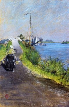 urgetocreate:  William Merritt Chase, Dutch Canal (aka Canal Path Holland), 1883