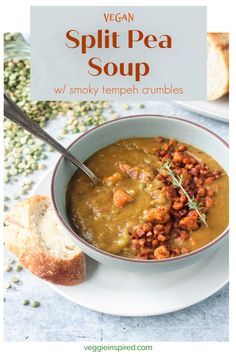 Vegan Split Pea Soup - flavorful, hearty soup made easily in the Instant Pot. Serve it up w/ smoky tempeh crumbles & a slice of crusty bread. Tasty Vegetarian Recipes, Vegan Soups, Healthy Soups, Vegan Split Pea Soup, Slow Cooker Pressure Cooker, Lentil Stew, Plant Protein, Tempeh, Soup And Salad