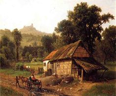 In the Foothills - Albert Bierstadt - Oil Painting Reproductions and Prints Landscape Art, Landscape Paintings, Landscapes, Albert Bierstadt Paintings, Carl Spitzweg, Hudson River School, Oil Painting Reproductions, Paintings I Love, Farm Life