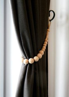 Wooden Beads Curtain Tie Backs – Jute Rope Curtain Tiebacks – Decorative Natural Beads – Top Of The World Curtain Tie Backs Diy, Curtain Ties, Diy Curtain Tiebacks, Tie Backs For Curtains, Boho Curtains, Beaded Curtains, Bedroom Curtains, Shower Curtains, Campolina