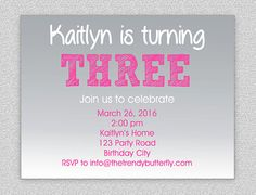 Grey and Pink Birthday Invitation  1st by TheTrendyButterfly