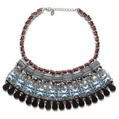 Zara Multicolored Ethnic Necklace With Stones ($36) ❤ liked on Polyvore