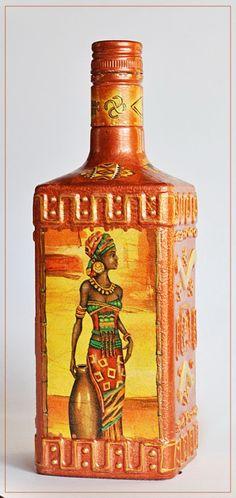 Заготовка Бутылка «Африка» http://dcpg.ru/blogs/6587/ Click on photo to see more! Нажмите на фото чтобы увидеть больше! decoupage art craft handmade home decor DIY do it yourself bottle Materials and techniques: acrylic paint napkin varnish etc.
