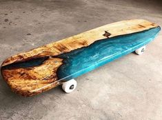 I finally got some trucks and wheels on my first river skateboard made from spalted Maple! I've had this idea for a… Longboard Design, Skateboard Design, Skateboard Decks, Longboard Decks, Skateboard Wheels, Resin Crafts, Resin Art, Wood Crafts, Skate And Destroy