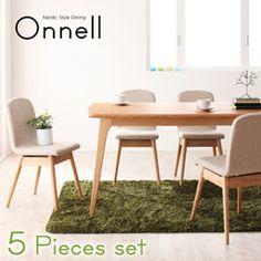 天然木北欧スタイルダイニング【Onnell】オンネル/5点セット(テーブル+チェア×4)【楽天市場】